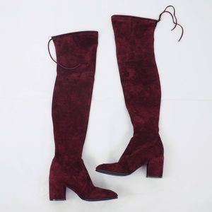 Kaitlyn Pan Shoes - Kaitlyn Pan Block Heel Microsuede Thigh High Boots